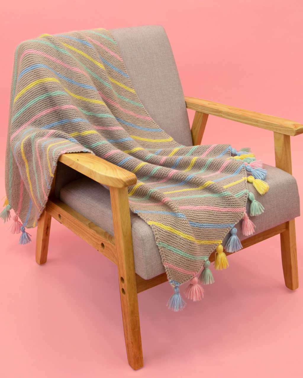 Baby Soft 8ply - Diagonal Stripe Blanket